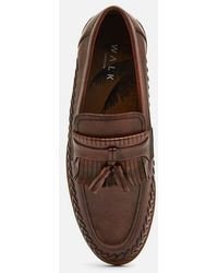 Walk London Arrow Leather Tassel Loafers - Brown