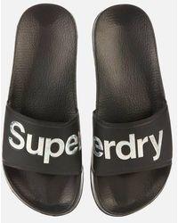 Superdry Holo Infil Pool Slide Sandals - Black