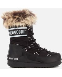 Moon Boot - Low Monaco Nylon & Faux Leather Boots - Lyst