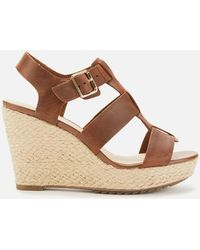 Clarks Maritsa95 Glad Leather Wedged Sandals - Brown