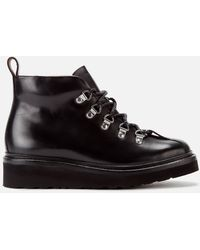Grenson Bridget Leather Hiking Style Boots - Black