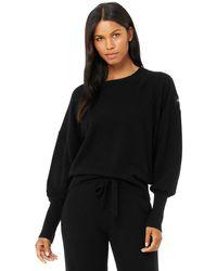 Alo Yoga Cashmere Jet Set Crew Sweatshirt - Black