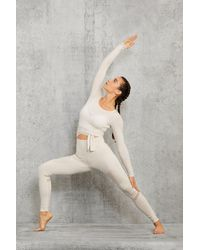 Alo Yoga Barre Long Sleeve Top In Bone, Size: Large | - Multicolor