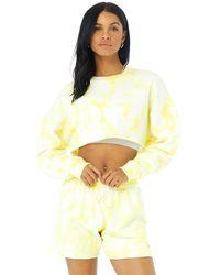 Alo Yoga Alo Yoga Tie-dye Extreme Crop Crew Neck Sweatshirt - Yellow