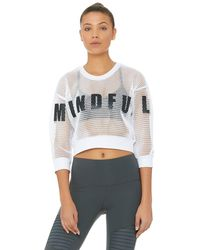 Alo Yoga Structured Graphic Mesh Pullover - Whitemindful Movementblk Top