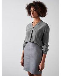 ALPHATAURI Cupro-Bluse mit V-Ausschnitt - Grau