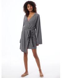 Alternative Apparel Slinky Jersey Robe - Gray