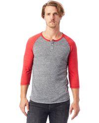 Alternative Apparel - Basic Eco-jersey Raglan Henley Shirt - Lyst