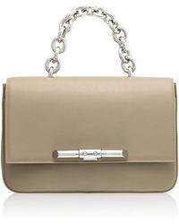 Amanda Wakeley - Redford Linen Beige Leather Shoulder Bag - Lyst