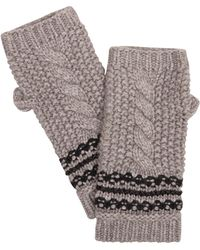 Amanda Wakeley - Taupe Cable Knit Fingerless Gloves - Lyst
