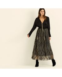 Amanda Wakeley - Black & Copper Corded Embroidery Skirt - Lyst