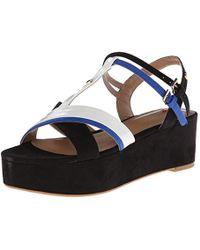 7dd6eb7015d Lyst - Love Moschino Striped Satin Platform Wedge Sandals in Black