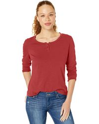 Columbia Canyon Point Long Sleeve Henley - Red
