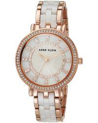 Anne Klein - Swarovski Crystal Accented Ceramic Bracelet Watch - Lyst