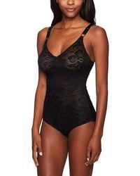 Joan Vass Control Lace Bodysuit - Black