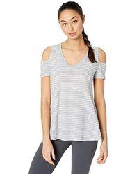 ddf769ecde869 Calvin Klein - Westside Stripe Square Cold Shoulder V-neck - Lyst