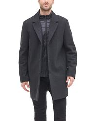 DKNY Wool Blend Coat With Removable Quilted Bib - Gray