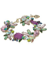 Betsey Johnson - S Colorful Stone And Cat Cluster Collar Bracelet - Lyst
