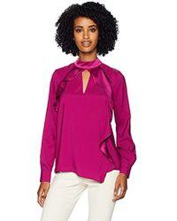 Parker Cianni Long Sleeve Asymmetrical Ruffle Blouse - Purple