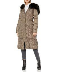 Via Spiga Womens Maxi Down Coat with Removable Faux Fur Trim Hood