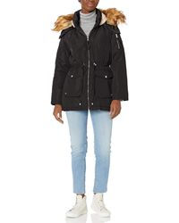 Steve Madden Ladies 100% Poly Woven 600mm Pu Coated Wr Jacket Outerwear - Black