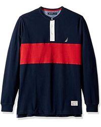 Nautica - Big And Tall Long Sleeve Woven Collar Blocked Henley Shirt - Lyst