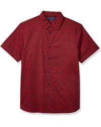 Perry Ellis Short Sleeve Zigzag Print Shirt - Red