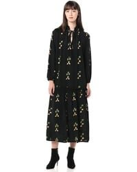 Rachel Pally Plus Size Gail Printed V-neck Blouson-sleeve Drop-waist Dress - Black