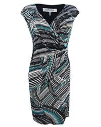 Kasper Plus Size Zig Zag Swirl Print Knit Dress - Green