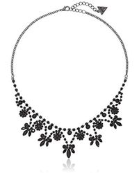 """Guess - """"basic"""" Jet Dainty Floral Necklace, 16"""" + 2"""" Extender - Lyst"""