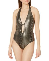 Kenneth Cole Precious Metals Cutout Halter-neck One-piece Swimsuit - Multicolor