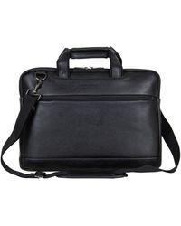 "Kenneth Cole Reaction Protec Faux Pebbled Leather Slim 16"" Laptop Business Briefcase / Tablet Bag - Black"