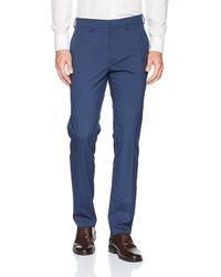 Kenneth Cole Reaction Glen Plaid Slim Fit Flat Front Dress Pant - Blue