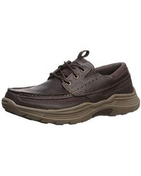 Skechers Expended-menson Leather Lace Up Boat Shoe - Multicolor