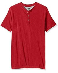 Lee Jeans Henley Short Sve T-shirt | Casual, Soft Breathable Cotton Tee | Regular Fit, Big And Tall - Red