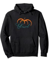Ash Fall Pumpkin Thankful Women Tee Thanksgiving Be Blessed Pullover Hoodie - Black