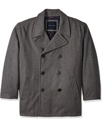 Tommy Hilfiger Size Classic Wool Melton Peacoat - Gray