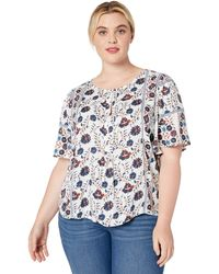 Lucky Brand Plus Size Printed Smocked Peasant Top - Multicolor