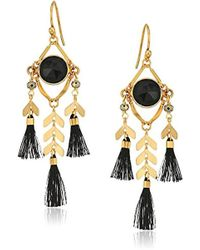 Chan Luu - S Chevron And Tassel Earrings With Semi Precious Stones - Lyst