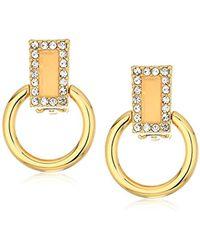 T Tahari - S Pastel Party Doorknocker Clip On Earrings, Gold, One Size - Lyst