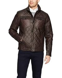 Perry Ellis Stretch Faux Leather Jacket - Brown