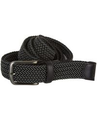 Perry Ellis Woven Stretch Leather-trim Belt - Gray