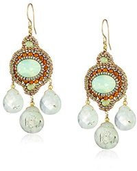 Miguel Ases - Green Rutilated Quartz Three-stone Drop Earrings - Lyst