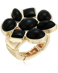 T Tahari - S Marina Club Stretch Ring With Stones, Gold/jet, Adjustable - Lyst