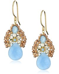 Miguel Ases Blue Jade And Smoky Created Quartz Drop Earrings
