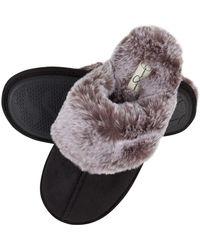 Jessica Simpson Comfy Faux Fur House Slipper Scuff Memory Foam Slip On Anti-skid Sole - Black