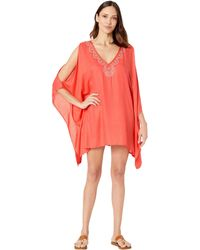 Lucky Brand V-neck Swing Tunic Beach Cover Up - Multicolor