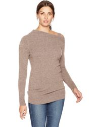 Lark & Ro Sweaters Off The Shoulder Cashmere Sweater With Removable Strap - Multicolor