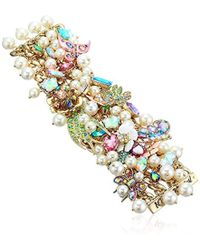 Betsey Johnson - S Blooming Betsey Floral And Pearl Statement Bracelet, Multi, One Size - Lyst
