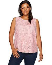 Kasper Petite Size Knit Lace Cami - Pink
